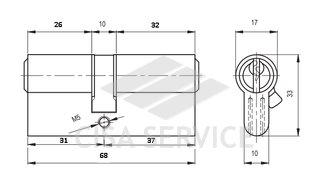 164 GN KALE 68мм(31х37) Цилиндровый механизм 68 (26х10х32) мм, ключ/ключ, никель