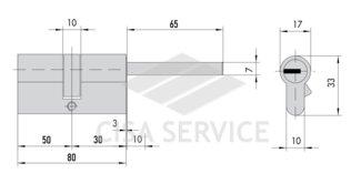 OA317.90.0.12.C5 Cisa ASTRAL цилиндр 80 (50x30) кл/дл.шток (никель)