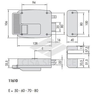 11610.60.4 Cisa Замок накладной электромеханический (дверь левая, открывается наружу)