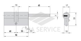 OL3S7.87.0.66.CL.C5 Cisa RS3 S цилиндр 90 (60x30) кл/дл.шток (латунь)