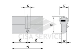 OG300.29.0.12 Cisa C2000 цилиндр 90 (45x45) кл/кл (никель)