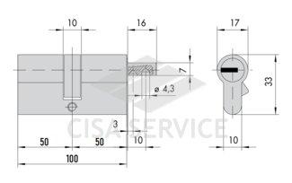 OE302.23.0.00.C5 Cisa ASIX цилиндр 100 (50x50) кл/верт (латунь)