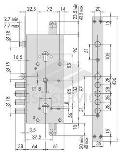 57786.48 Cisa Замок врезной двух системный (тех. упаковка)