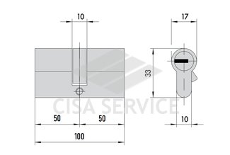 OA310.23.0.00.C5 Cisa ASTRAL цилиндр 100 (50x50) кл/кл (латунь)