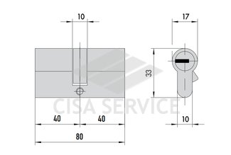 OL3S1.18.0.66.CL.C5 Cisa RS3 S цилиндр 80 (40x40) кл/кл (латунь)
