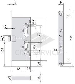 1.13200.65.0 Cisa Врезной электромеханический противопожарный замок, нормально открытый