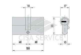 OE300.25.0.00.C5 Cisa ASIX цилиндр 100 (40x60) кл/кл (латунь)