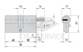 OL3S2.12.0.66.CL.C5 Cisa RS3 S цилиндр 70 (40x30) кл/верт (латунь)