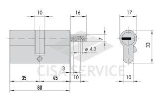 OL3S2.19.0.12.CL.C5 Cisa RS3 S цилиндр 80 (35x45) кл/верт (никель)