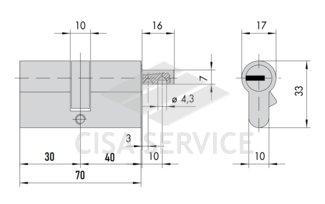 OL3S2.82.0.66.CL.C5 Cisa RS3 S цилиндр 70 (30x40) кл/верт (латунь)