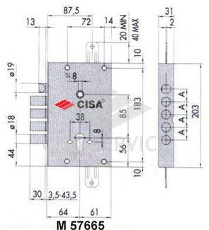 57665 Cisa Замок врезной сувальдный 57.665.48 NEW CAMBIO FACILE (тех. упаковка), ключ 44 мм