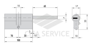 OE307.88.0.12.C5 Cisa ASIX цилиндр 100 (70x30) кл/дл.шток (никель)