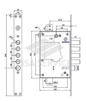 2503RCR0328 Securemme Корпус замка 2503R (правый) под защелку, без нуклео, без ключей