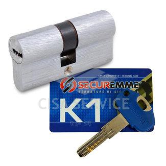 3100CCS35451X5 K1 Securemme Цилиндровый механизм с перекодировкой 80мм(35х45) ключ/ключ, никель