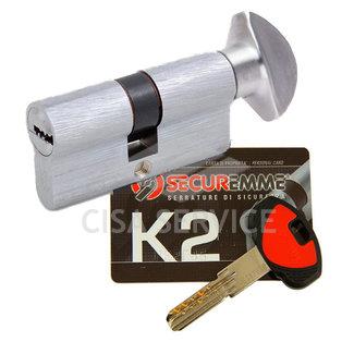 3200PCS40401X5 K2 Securemme Цилиндровый механизм с перекодировкой 80мм(40х40) ключ/вертушка, никель