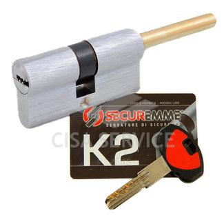 3200QCS30351X5 K2 Securemme Цилиндровый механизм с перекодировкой 65мм(35х30) ключ/дл.шток, никель