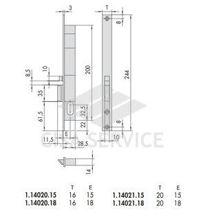 14020.15.1 Cisa Замок врезной электромеханический, правый (внутрь)