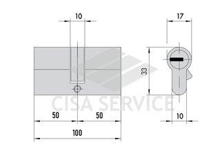 M12R410 ABUS цилиндровый механизм 100мм(50х50) ключ/ключ (никель)