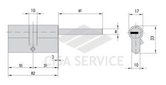 DPC1P5131 S3 PROJECT MOTTURA цилиндровый механизм 82мм(51х31) ключ/длинный шток, никель (1+5ключей)