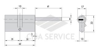 C48P313101 CHAMPIONS C48 MOTTURA Цилиндровый механизм 62мм (31x31) ключ/длинный шток, никель