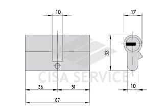 EVVA EPS Цилиндровый механизм 87мм (36х51) ключ/ключ, никель