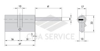 EVVA 3KS Цилиндровый механизм 67мм (36х31) ключ/длинный шток, латунь