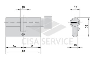 EVVA 3KS Цилиндровый механизм 112мм (56х56) ключ/вертушка, латунь