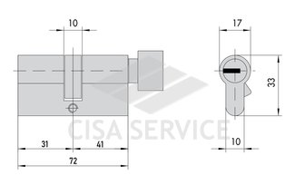 EVVA 3KS Цилиндровый механизм 72мм (31х41) ключ/вертушка, латунь