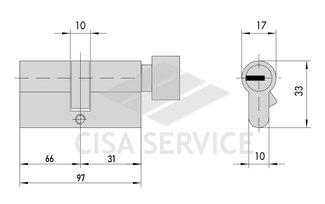 EVVA 3KS Цилиндровый механизм 97мм (66х31) ключ/вертушка, латунь