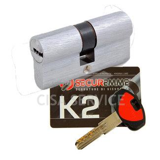 3200CCS30501X5 K2 Securemme Цилиндровый механизм с перекодировкой 80мм(30х50) ключ/ключ, никель