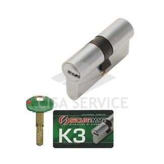 K30C0703535C15 K3 Securemme Цилиндровый механизм с перекодировкой 70мм(35х35) ключ/ключ, никель