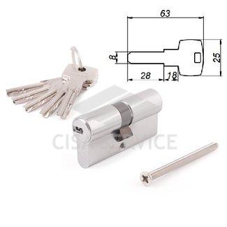 ABUS D6N 40/50 KD W/5 LONG KEY цилиндровый механизм 90мм(40х50) ключ/ключ (никель)