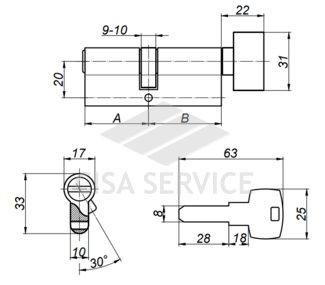 ABUS KD6N Z40/K40 KD W/5 LONG KEY цилиндровый механизм 80мм(40х40) ключ/вертушка (никель)
