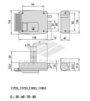 11931.60.2 Cisa Замок накладной электромеханический (дверь левая, открывается внутрь), оцинкованный